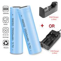 3500mAh 18650 Battery Flashlight Rechargeable Li-ion Flat Top Batteries+ Charger