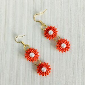 Red flower earrings, seed bead earrings, flower jewelry, beadwork earrings