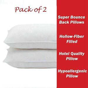 2 Pack DELUXE Super Bounce Back Pillows 100% VIRGIN Hollowfiber
