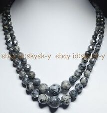 2Rows 6-14mm Faceted Black Gray Natural Labradorite Gems Round Beads Necklaces