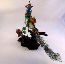 Chinese Export Large Sterling & Enamel Large Peacock Perched on Limb