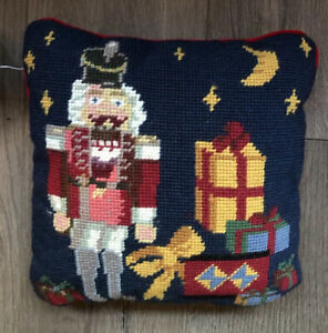 vintage C&F christmas nutcracker Needlepoint decorative pillow NWT