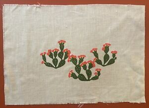 Vintage Prickly Pear Silkscreened Fabric by Leona Caldwell 3 Cacti Design
