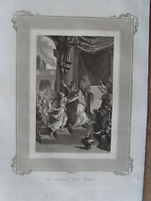 1m41 Gravure religieuse sur acier 1837 la reine de Saba