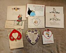 Vintage Valentine Cards set of 9 1920s-30s small cards angels hearts
