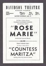 "Evelyn Daw ""ROSE MARIE"" Nat Burns ""COUNTESS MARITZA"" 1946 Milwaukee Playbill"