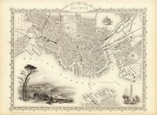 Antique Boston USA decorative map Tallis 31,5 x 23,6 inch canvas