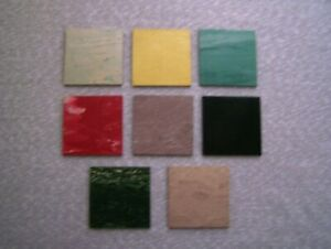 LOT OF 8 VINTAGE ARMSTRONG SAMPLE RUBBER FLOOR TILES 3 X 3 1950'S 60'S CRAFTS