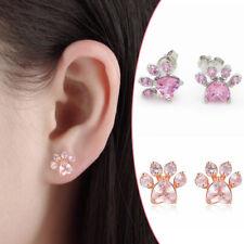 Women Girl Cubic Zirconia Dog Puppy Paw Print Stud Earrings Pet Lover Ear Studs