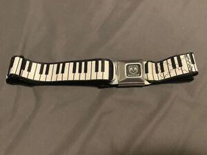 BUCKLE DOWN SEATBELT BELT - Dodge Buckle Piano - Black/White Belt Adjustable