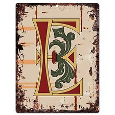 PP0513 Alphabet Medieval Initial Letter E Chic Sign Bar Shop Store Home Decor