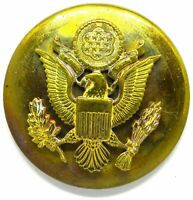 WWII Cap Visor Hat Enlisted Brass Disc Badge Pin US Army Disk Military Insignia
