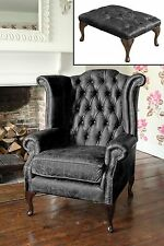 Chesterfield Queen Anne Wingback Chair and Footstool in Vintage Black Leather