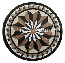 """30"""" Black Marble Coffee Table Top Mosaic Inlay Garden Home Furniture Decor H990A"""