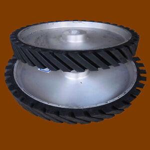 300*50*25mm Grooved Rubber Wheel Belt Sander Polisher Wheel for Sanding Belt
