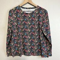 Talbots Women's L All Over Floral Print Blouse Long Sleeve Cotton Blend Stretch