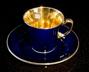 Beautiful Crown Devon Fieldings Cobalt Blue With Gold Cup And Saucer