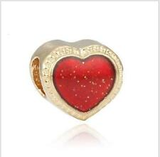 1pcs European Gold Heart Red sequins Charms beads For Silver bracelet chain