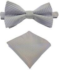 Fliege + Einstecktuch Smokingfliege Schleife Binder de Luxe 221 silber Krawatten