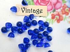 4mm Vintage Cabochons Cobalt Tiny Flat Back Stones Blue Antique NOS Dome #1019A