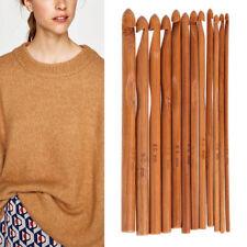 Bamboo Crochet Hooks Set of 12 Sizes # 3mm-10mm Wood Knitting Yarn Hook Needles