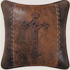 SPANISH CROSS FAUX LEATHER PILLOW : WESTERN BROWN EMBROIDERED LODGE ACCENT TOSS