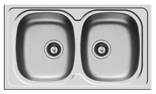 Lavello lavandino lavabo Sparta 86 x 50 acciaio inox cromato 2 vasche Pyramis