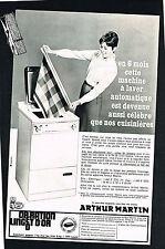 PUBLICITE ADVERTISING   1967   ARTHUR MARTIN   machine à laver
