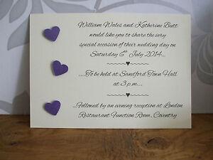 Handmade Personalised Three Heart Wedding / Evening Reception Invitations