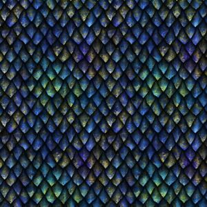 100% Cotton Digital Fabric Dragon Scales Mythical Fantasy Folklore Crafts Sewing