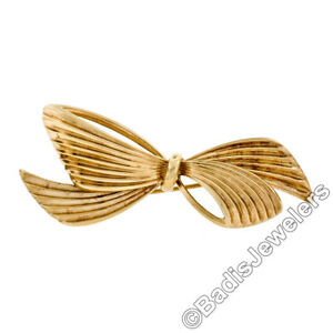Vintage Germany Tiffany & Co. 14K Yellow Gold Grooved Textured Bow Ribbon Brooch