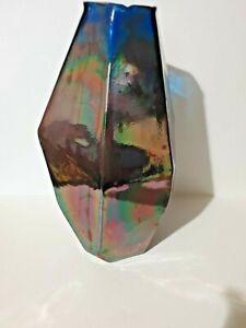 Pols Potton handmade Large heavy Graphic Luster Glass Vase H41 x Dia.26cm