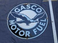"VINTAGE ""GASCO MOTOR FUEL W/ BIRD""  30"" PORCELAIN METAL GASOLINE & OIL SIGN! SSP"