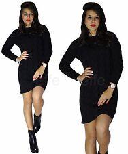 Maglione pullover donna miniabito maxi maglia lana trecce traforata abito sexy