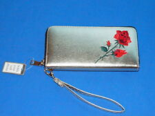 Clutch Wallet/Wristlet  Cell Phone Holder Gold Tone Red Rose Embroidery $12.50