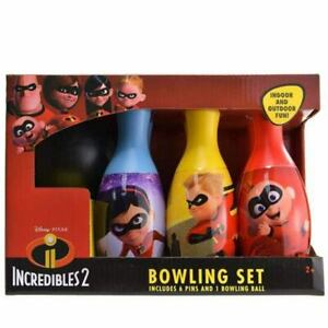Incredibles Bowling Set Kids Toy Games Gift 6 Pins and 1 Ball