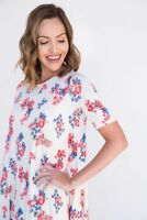 Agnes & Dora Swing Tunic Scarlet Fields Red Floral Pink White Blue Top Shirt