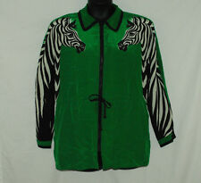 Bob Mackie Size M Medium Green Zebra Jacket 100% Silk Shoulder Pads Polka Dot