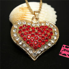 Betsey Johnson Chain Necklace Gift New Red Rhinestone Double Heart Pendant