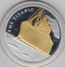NO DATE RMS TITANIC GOLD INLAY ON SILVER MEDAL ISSUE WITH A CAPSULE