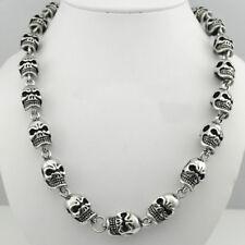 Men's Stainless Steel Heavy Necklace Skull Chain Black Silver