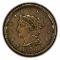 1856 1c Braided Hair Large Cent - XF Coin - SKU-Y2866