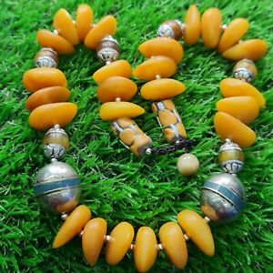 African silver beads & amber resin beads old necklace 20 inches