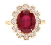 6.60 Carats Natural Red Ruby and Diamond 18K Solid Yellow Gold Ring