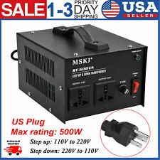 500W Step Up Down 220V to 110V Voltage Converter Transformer Heavy Duty US Plug