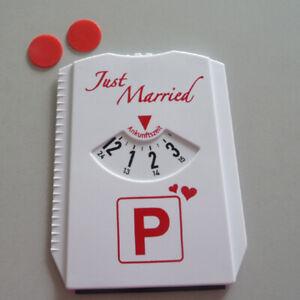 Just Married Funparkscheibe With 2 Einkaufschips Wedding White Red