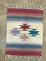 "VINTAGE NATIVE AMERICAN INDIAN NAVAJO RUG WOVEN WOOL TEXTILE ART 21"" X16"" MULTI"