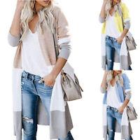 Women Long Sleeve Loose Knitted Patchwork Sweater Jumper Cardigan Outwear Coat