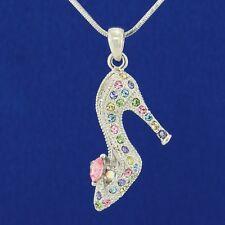 Shoe W Swarovski Crystal Cinderella Slippers High Heel Multi Color Necklace Gift