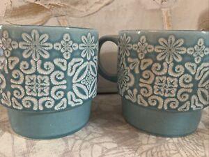Next Set of 2 Teal Tile Stacking Mugs